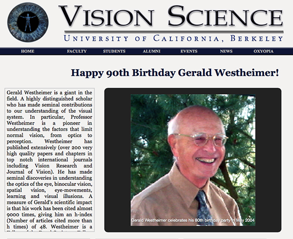 Happy 90th birthday Gerald Westheimer